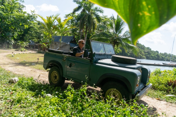Bond in his Land Rover Series III in Jamaica