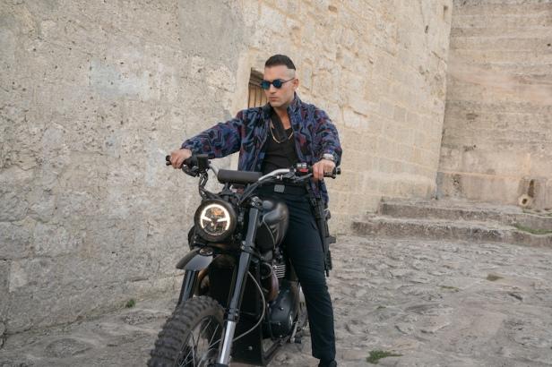 Primo on his Triumph Scrambler 1200 XE in Matera, Italy