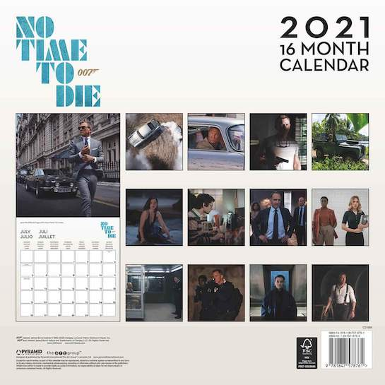 『007/ノー・タイム・トゥ・ダイ』2021年版カレンダー © 007Store/EON Productions