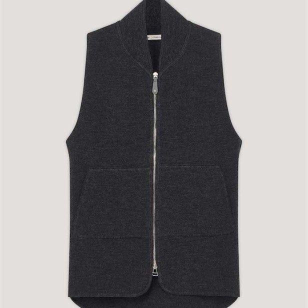Anthracite Wool & Leather Drop Back Car Vest © 007Store