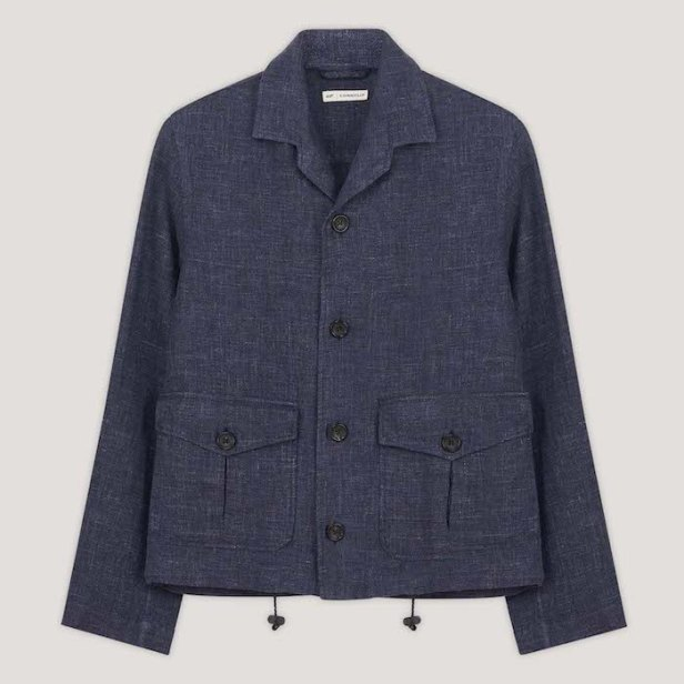 No Time To Die Navy Blue Mixed Linen Cotton Giubbino Jacket © 007Store